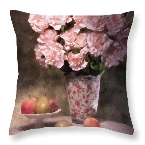 Flowers With Fruit Still Life Throw Pillow by Tom Mc Nemar