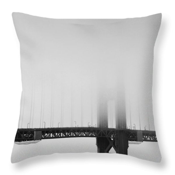 Fog at the Golden Gate Bridge 4 - Black and White Throw Pillow by Wingsdomain Art and Photography