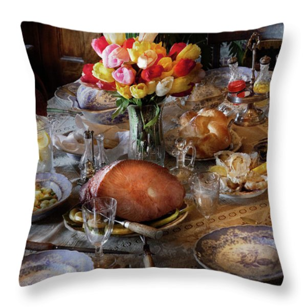 Food - Easter Dinner Throw Pillow by Mike Savad
