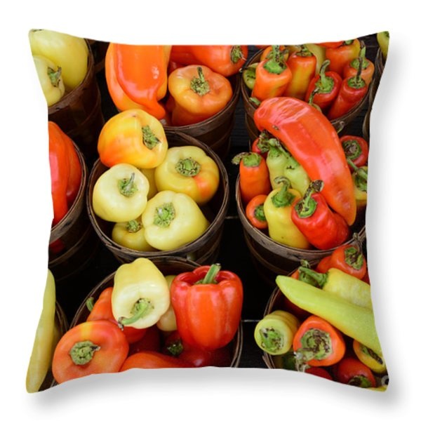 Food - Peppers Throw Pillow by Paul Ward