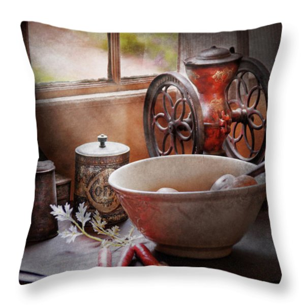 Food - The Morning Chores Throw Pillow by Mike Savad