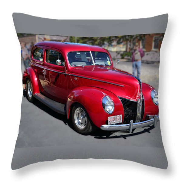 Ford 40 In Red Throw Pillow by Larry Bishop