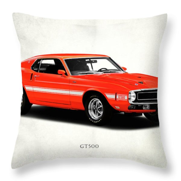 Ford Mustang Shelby Gt500 1969 Throw Pillow by Mark Rogan