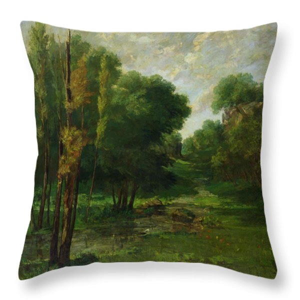 Forest Landscape Throw Pillow by Gustave Courbet