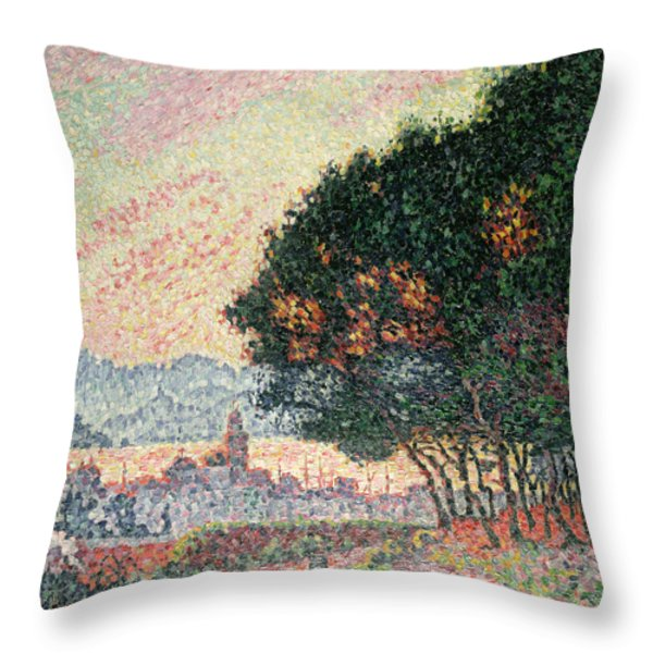 Forest Near St Tropez Throw Pillow by Paul Signac