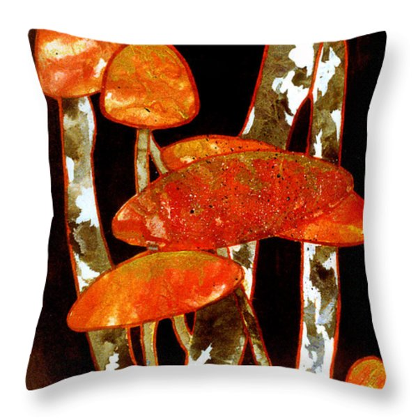 Forest Treasures A Collage Depicting Woodland Mushrooms Throw Pillow by Phil Albone