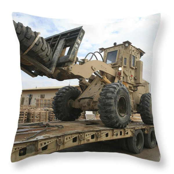 Forklift Is Unloaded Off Of A Logistics Throw Pillow by Stocktrek Images