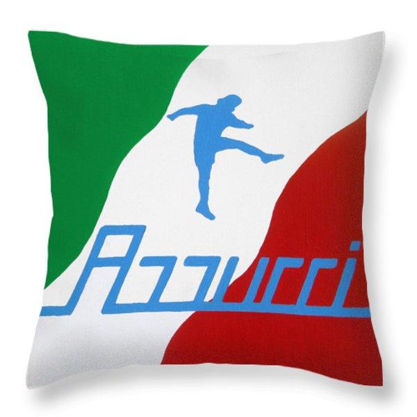 Forza Azzurri Throw Pillow by Oliver Johnston