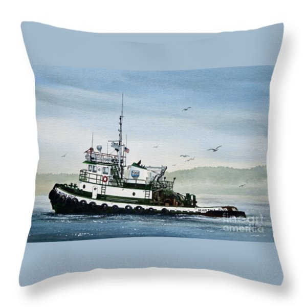 FOSS Tugboat MARTHA FOSS Throw Pillow by James Williamson