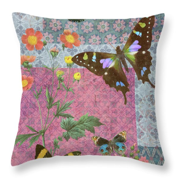 Four Butterfly Patch Blue Throw Pillow by JQ Licensing