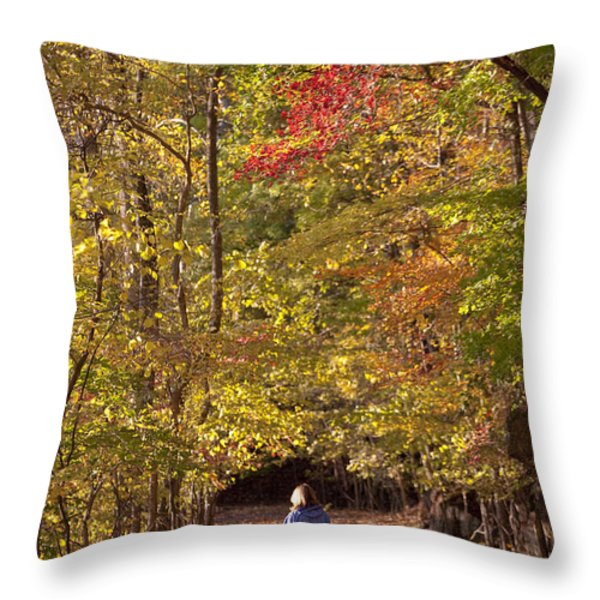 Four Year Old Boy And His Mom Walk Hand Throw Pillow by Skip Brown