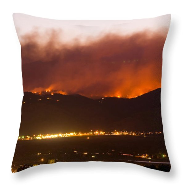 Fourmile Canyon Fire Burning Above North Boulder Throw Pillow by James BO  Insogna