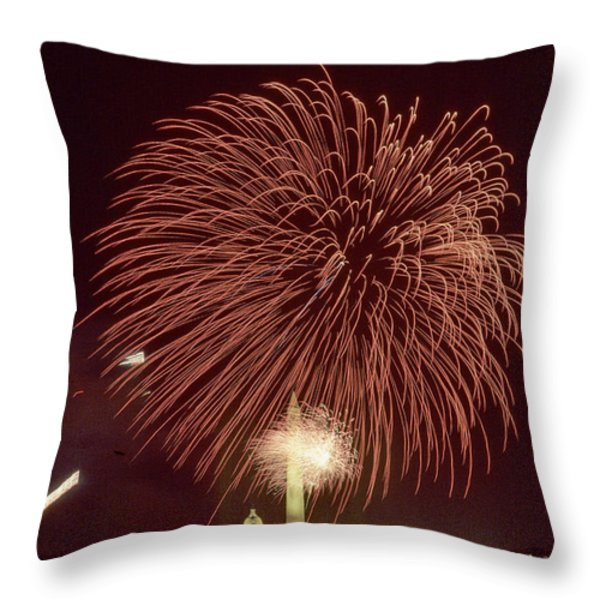 Fourth Of July Fireworks Display Throw Pillow by Kenneth Garrett