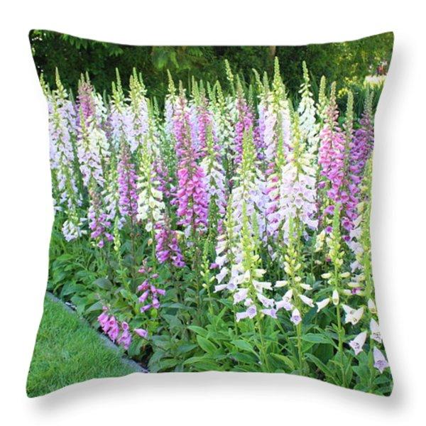 Foxglove Garden Throw Pillow by Carol Groenen
