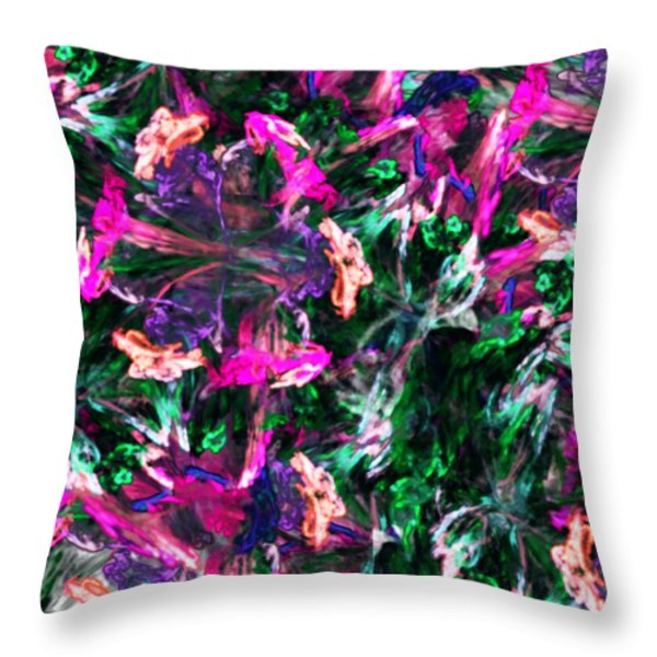 Fractal Floral Riot Throw Pillow by David Lane