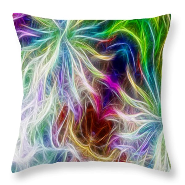 Fractal Flowers With Filter Effect - Vertical Throw Pillow by Gina Lee Manley