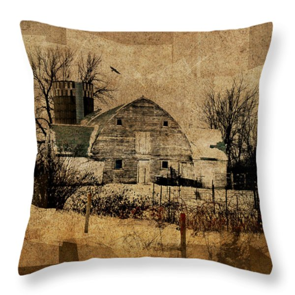 Fragmented Barn  Throw Pillow by Julie Hamilton