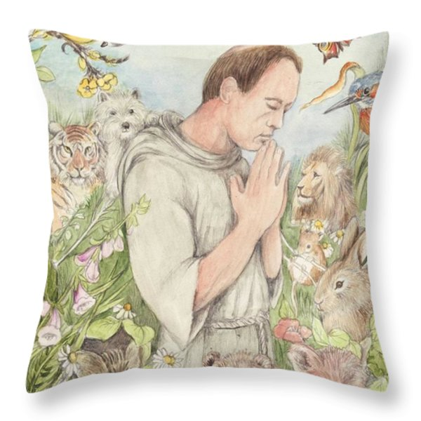 Francis Of Assisi With The Animals Throw Pillow by Morgan Fitzsimons
