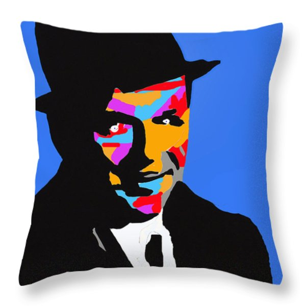 Frank Feeling Blue Throw Pillow by Robert Margetts