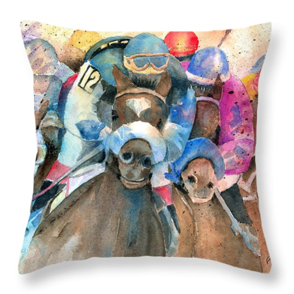 Frantic Finish Throw Pillow by Arline Wagner
