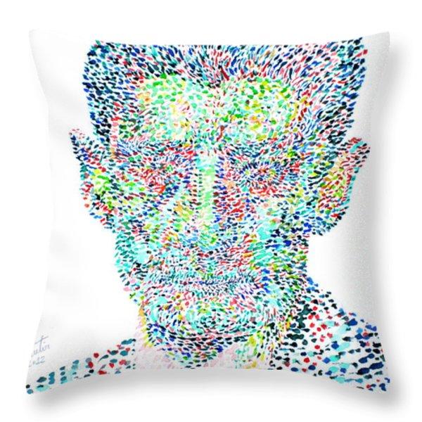 FRANZ KAFKA WATERCOLOR PORTRAIT.1 Throw Pillow by Fabrizio Cassetta