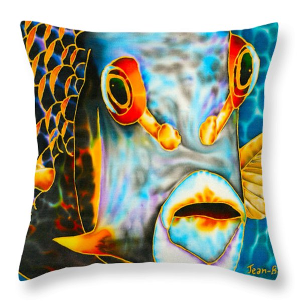 French Angelfish Face Throw Pillow by Daniel Jean-Baptiste