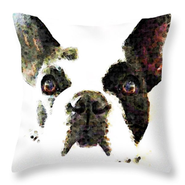 French Bulldog Art - High Contrast Throw Pillow by Sharon Cummings