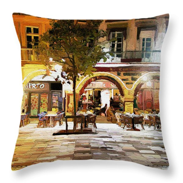 French cafe Throw Pillow by James Shepherd