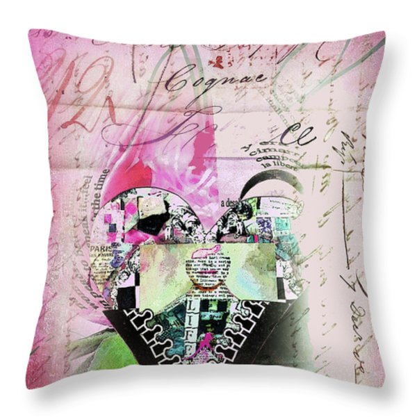 French Pink Heart Throw Pillow by Anahi DeCanio