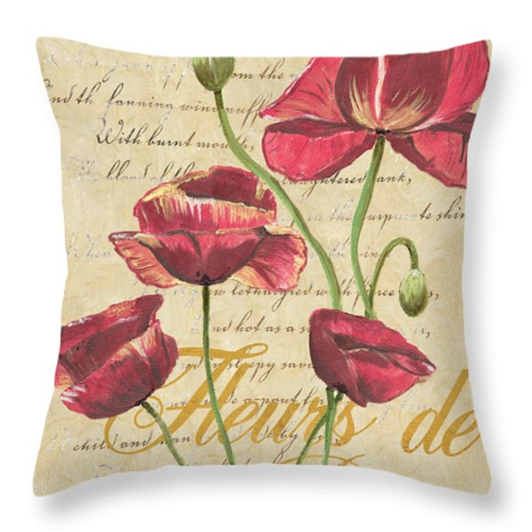 French Pink Poppies Throw Pillow by Debbie DeWitt