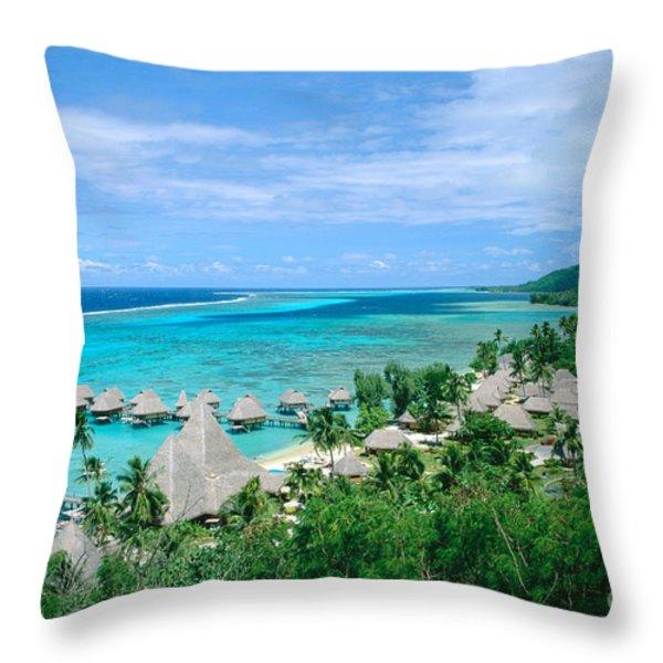 French Polynesia, Moorea Throw Pillow by Kyle Rothenborg - Printscapes