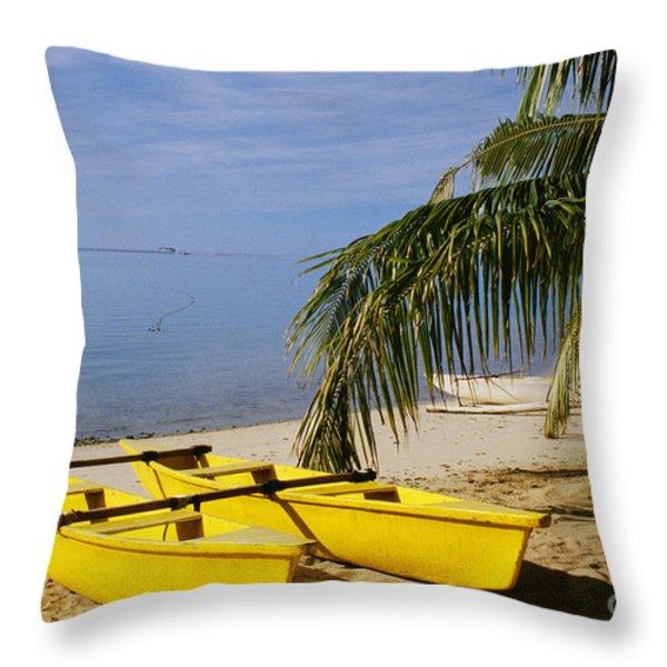 French Polynesia, Rangiro Throw Pillow by Mary Van de Ven - Printscapes