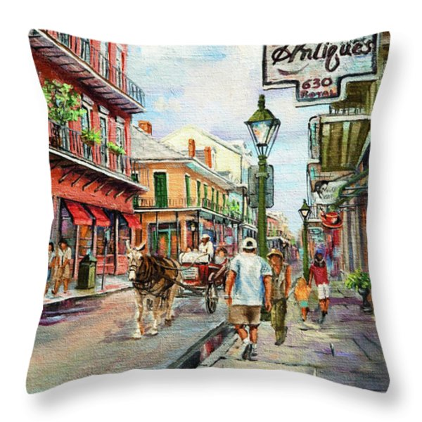 French Quarter Antiques Throw Pillow by Dianne Parks
