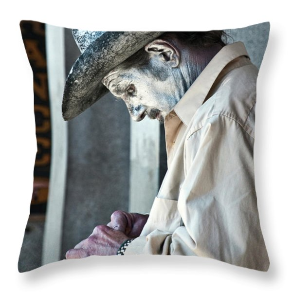 French Quarter Cowboy Mime Throw Pillow by Kathleen K Parker