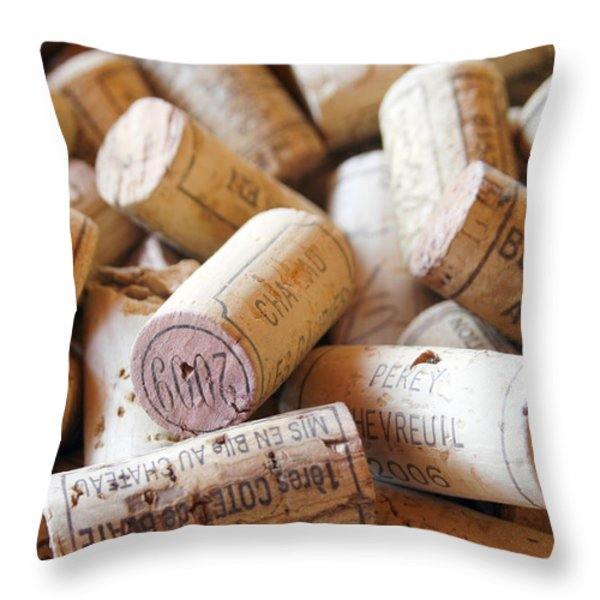 French Wine Corks Throw Pillow by Nomad Art And  Design