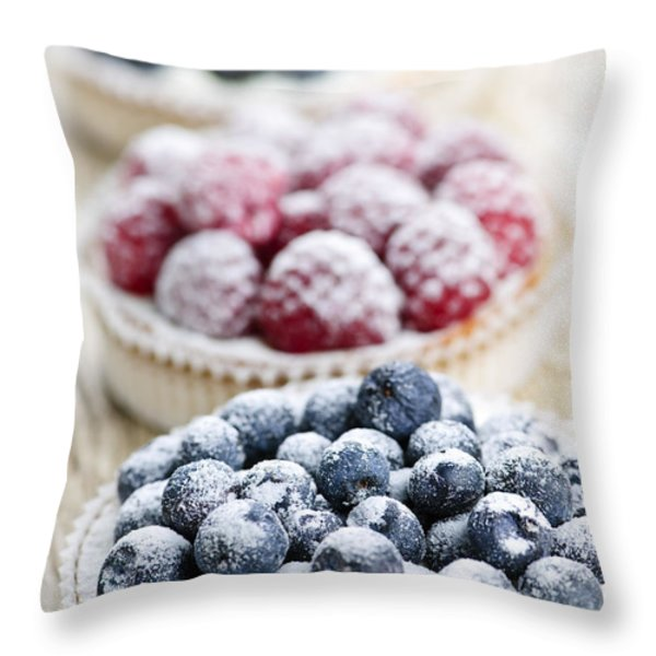 Fresh berry tarts Throw Pillow by Elena Elisseeva