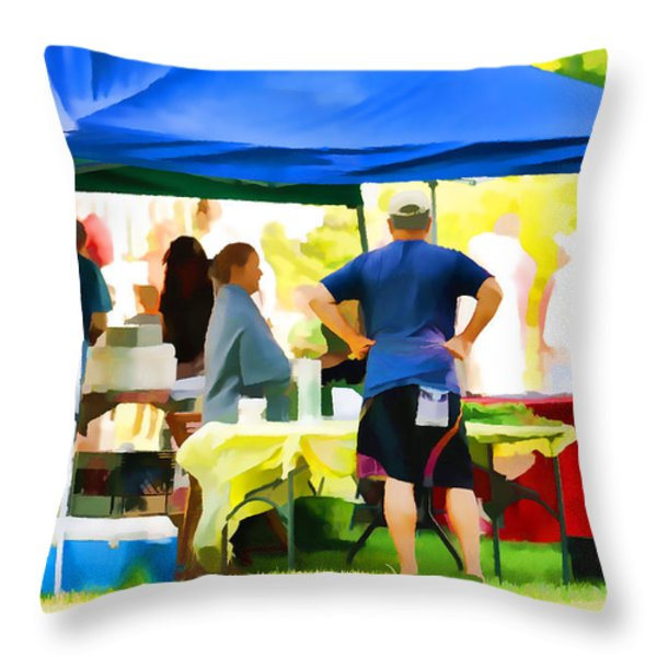 Fresh Organic Food At The Local Farmers Market Throw Pillow by Lanjee Chee