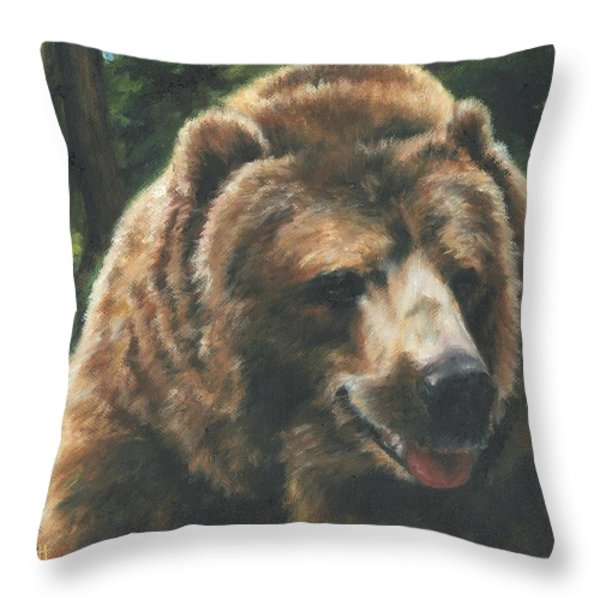 Friendly Lick Throw Pillow by Lori Brackett