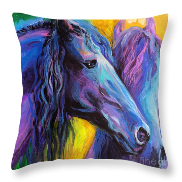 Friesian Horses Painting Throw Pillow by Svetlana Novikova