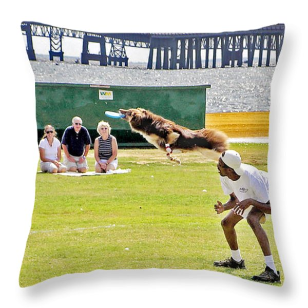 Frisbee Dog Throw Pillow by Brian Wallace