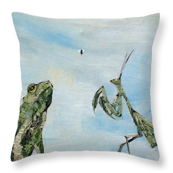 FROG FLY and MANTIS Throw Pillow by Fabrizio Cassetta