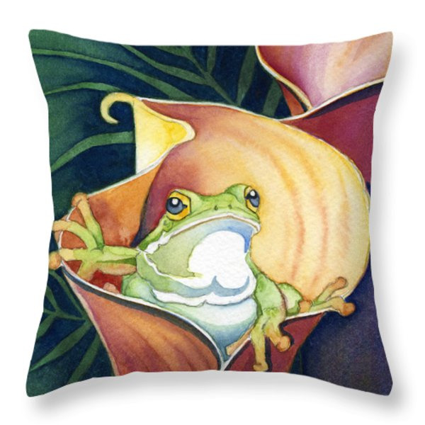 Frog In Gold Calla Lily Throw Pillow by Lyse Anthony