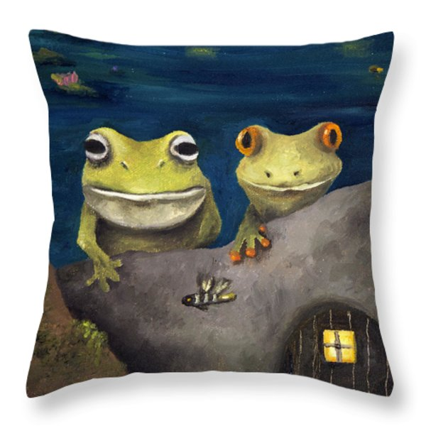 Frogland Detail Throw Pillow by Leah Saulnier The Painting Maniac