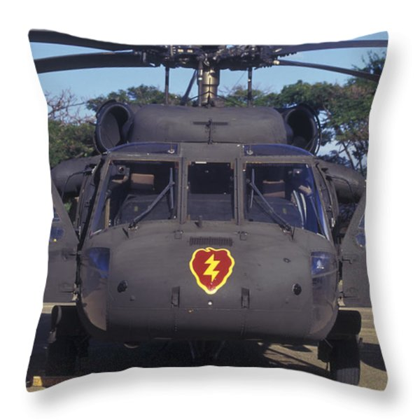 Front View Of An Army Hh-60 Pave Hawk Throw Pillow by Michael Wood