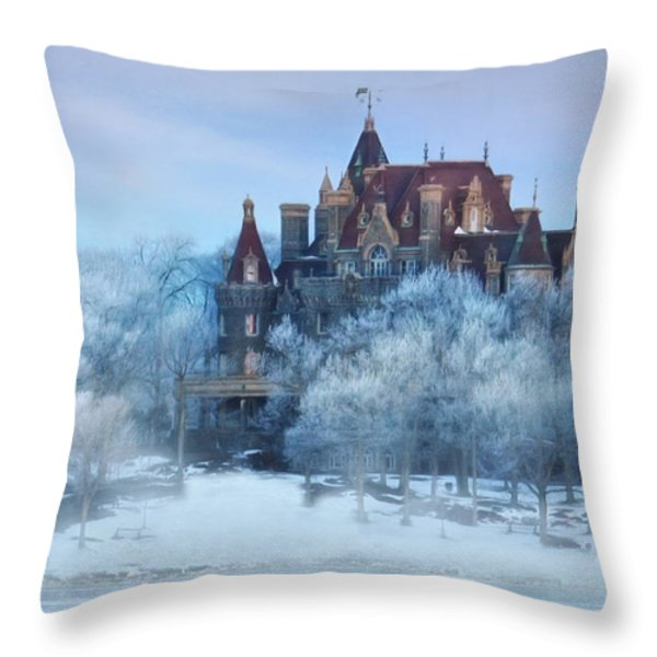 Frosted Castle Throw Pillow by Lori Deiter