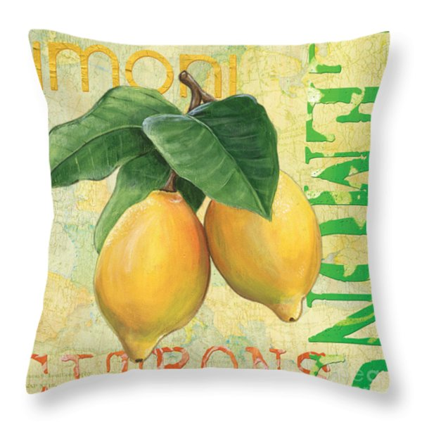Froyo Lemon Throw Pillow by Debbie DeWitt