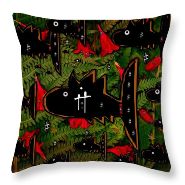 Fugi Sashi In The Deep Sea Of Japan Throw Pillow by Pepita Selles
