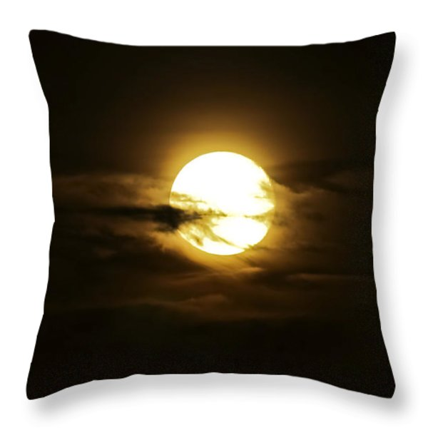 Full Moon In The Night Sky, Sobreda Throw Pillow by Miguel Claro