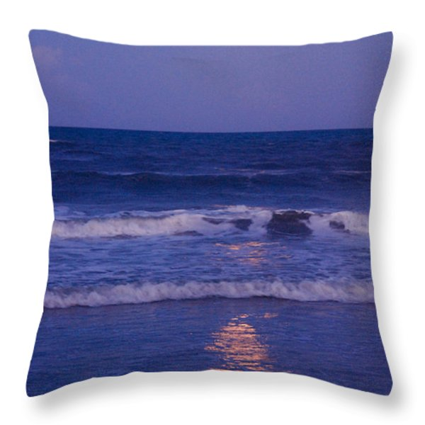 Full Moon Over The Ocean Throw Pillow by Susanne Van Hulst