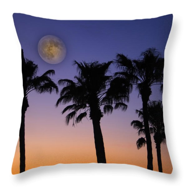 Full Moon Palm Tree Sunset Throw Pillow by James BO  Insogna